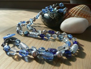 Blue Sea Glass Beaded Necklace