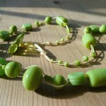 Green opaque & lampwork glass multistrand necklace