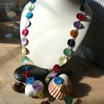 mother of pearl multi colour button necklace